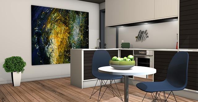 návrh kuchyně, obraz, jídelní stůl