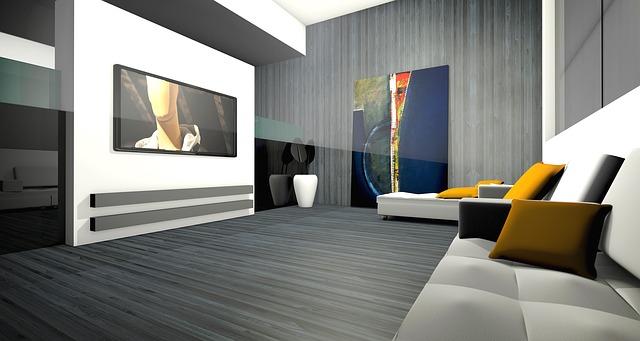 moderní obývací pokoj, televize